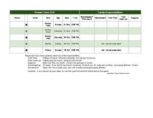 Team Schedule and Duties Example
