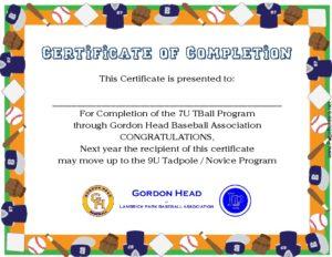 7U 2nd year Player Certificate